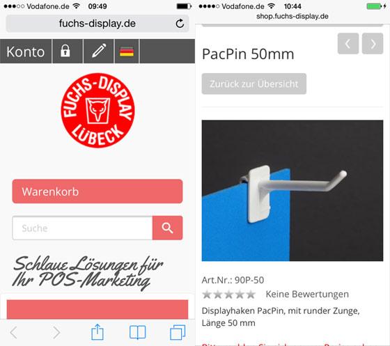 Smartphoneansicht des OXID eShops mit Anbindung an die Warenwirtschaft